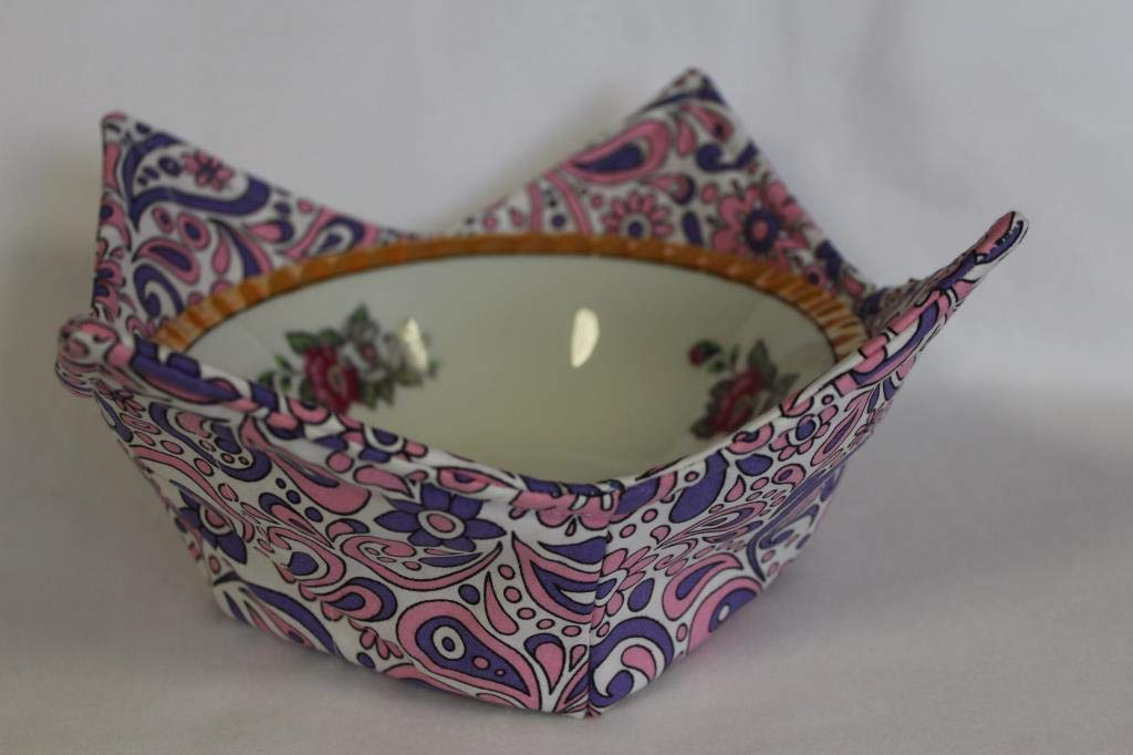 Pink depot and Lavender Paisley Quilted Holde Soup Microwave Bowl Special price for a limited time Cozy