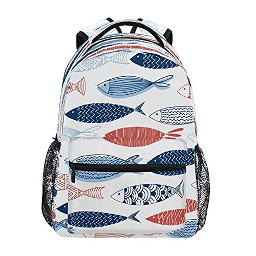 Mochila para niños y niñas, coloridos peces para niños, mochila escolar para preescolar, jardín de infantes, elemental con correas acolchadas ajustables