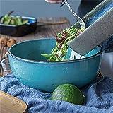 fenglei Müslischalen-Set Große Salatschüssel Suppe Schüssel Mischschüssel Früchte Ramen Nudelschale Servierschale Kreative Keramikgeschirr 8,7 cm Mikrowelle Safe Blau Nudelschalen