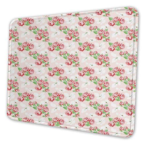Rechthoekige muismat muismat, diagonale rozenboekjes patroon klassieke pastel fantasie soulful buds