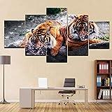 5 paneles impresos en lienzo, 5 paneles, pinturas decorativas, cuadros de pared, lienzo de animales, impresiones y carteles, decoración del hogar