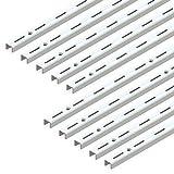 Emuca 7907812 Profil crémaillère simple perforation pas 50mm pour équerres, blanc, L 1000mm, Set de 10 pièces