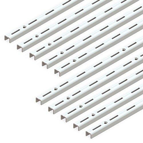 Emuca 7907812 Leistenprofil, einfache Bohrung, Durchlass 50 mm für Regalwinkel, weiß, L 1000 mm, Set aus 10 Stück