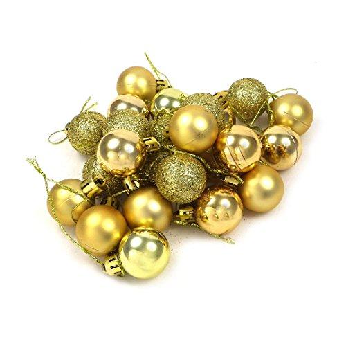 kleine Minni Dekokugeln Weihnachten matt Weihnachtskugeln Weihnachtskugeln Kugeln glänzend glitzernd 24 Stück 3,3cm Gold