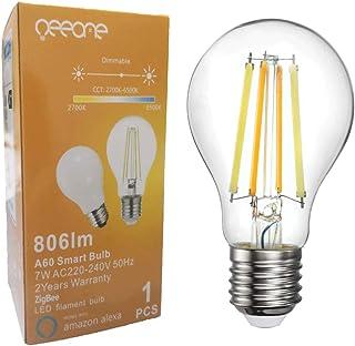 Oeeone Bombilla LED de filamento inteligente ZigBee E27 Vintage Edison rosca bombillas, funciona con Philips Hue* / Alexa/Google Assistant (requiere hoja, no WiFi), 7 W 2700 – 6500 K regulable
