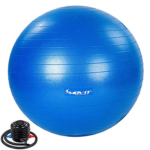 Movit® Gymnastikball »Dynamic Ball« inkl. Pumpe, 75 cm, blau, Maximalbelastbarkeit bis 500kg, berstsicher, Fitness-Ball, Sitzball, Yogaball, Pilates-Ball, Balance