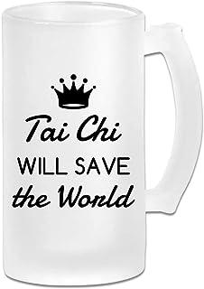 Tai Chi salvará al mundo taza de cerveza de vino esmerilado de vidrio esmerilado de 16 oz regalo bajo
