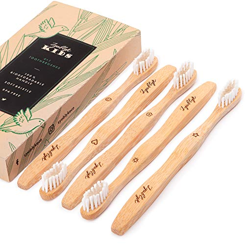 Kids Bamboo Toothbrushes Set, Pack of 5 Organic and Biodegradable Natural Wood Toothbrushes, Extra Soft Bristles, Zero-Waste Packaging, BPA Free