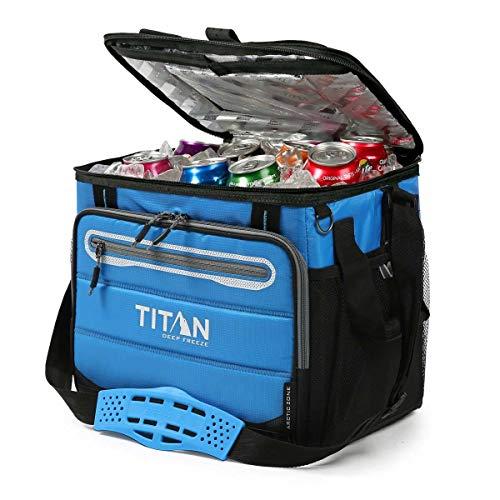 Titan koeltas voor 40 blikjes + ijs 1330878 5-laagse isolatie. Tot 2 dagen ijsconservering. Kleur: blauw.