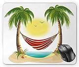 N\A Gráfico de Dibujos Animados de Ocio de Vacaciones en la Playa con Hamaca Relajante Entre Palmeras Tropic Island, Alfombrilla de ratón Multicolor
