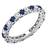 Dazzlingrock Collection 14K White Diamond & Blue Sapphire Eternity Wedding Anniversary Stackable Band, White Gold, Size 7