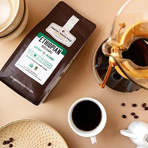 Fresh Roasted Coffee, Organic Ethiopian Sidamo Light Roast, Fair Trade Kosher, Whole Bean, 5 Pound