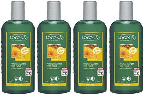 Logona Volume Shampoo birra di miele–Capelli Fini–4X 250ML