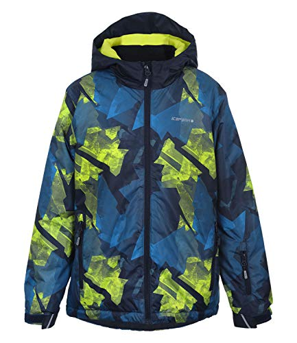 Icepeak - Locke Navy Print JKT jr - Blouson de Ski - Bleu Marine/Bleu Nuit - Taille 12ans