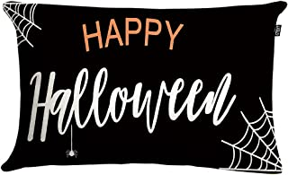 GTEXT Halloween Throw Pillow Cover Fall Pillow Cover Black Happy Halloween Cushion Cover Fall Home Decoration Linen 20 x 1...