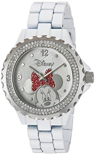 Disney Minnie Mouse Damen Emaille Sparkle Weiß Legierung Uhr Silber Lünette Weiß...