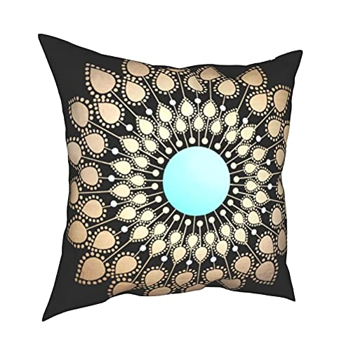 Art Fan-Design Funda de cojín elegante flor de loto Mandala clásico suave decorativo cuadrado Set Fundas de cojín Fundas de almohada para sofá dormitorio coche 45,7 x 45,7 cm