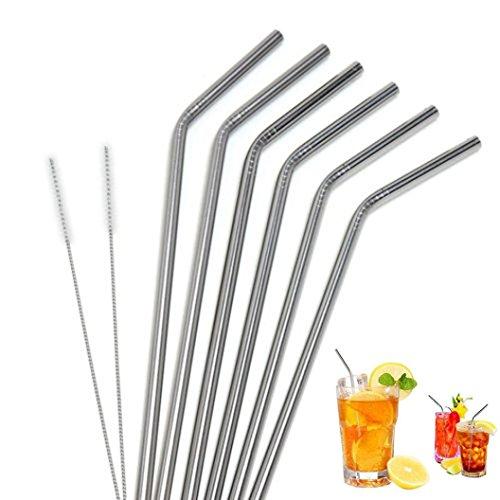 Rameng- Paille INOX, Lot de 6 Pailles en Acier Inoxydable Réutilisables pour Cocktail avec 2Pcs Brosse de Nettoyage (6Pcs)