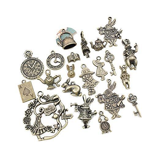 honggui 1111-42 piezas de bronce antiguo Alicia en el País de las Maravillas Cuentos de hadas para fiesta de té steampunk victoriano collar pulsera dijes