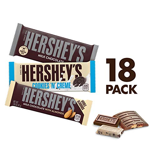 HERSHEY'S Halloween Chocolate Candy Bar Variety Pack, Milk, Milk with Almonds, and Cookies & Creme, 18 Count Gift