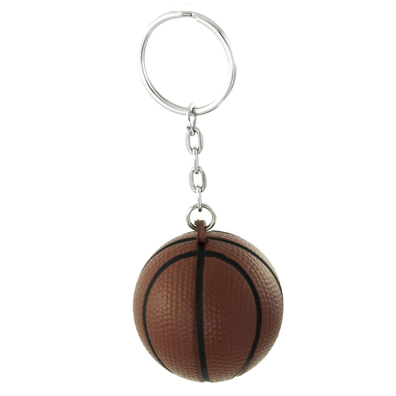 姿を消す嫌がらせ正気uxcell キーリング キーチェーン シルバートーン ブラウン バスケットボールペンダント 長さ9cm