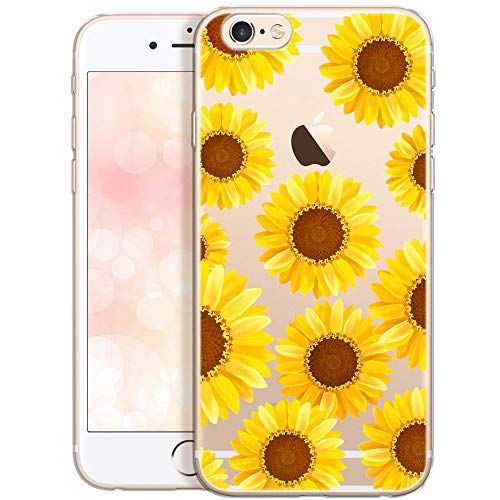 QULT Carcasa para Móvil Compatible con iPhone 6, Funda iPhone 6S Transparente Flores Silicona Suave Bumper Teléfono Caso para iPhone 6, 6S con Dibujo Girasol es Amarillos