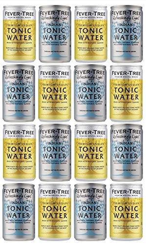 Fever-Tree Indian Tonic Water & Refreshingly Light Tonic Water Cans 150ml - Mixed Pack x 16