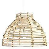 Estilo tradicional de la cesta Lámpara de techo de mimbre de mimbre marrón claro Sombra clara por Happy Homewares