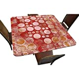 """Decorative Elastic Edged Square Fitted Tablecloth,Worn out Different Size Polyester Indoor Outdoor Fitted Table Cover for Buffet Table,Parties,Holiday Dinner,Wedding & More Fit Square Table up to 42"""""""