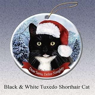 Holiday Pet Gift Tuxedo Shorthair Cat Santa Porcelain Christmas Tree Ornament