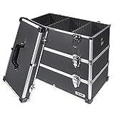 HMF 14660900 - Maletín de herramientas de aluminio, vacío, con separadores individuales, estantes a elegir, color negro