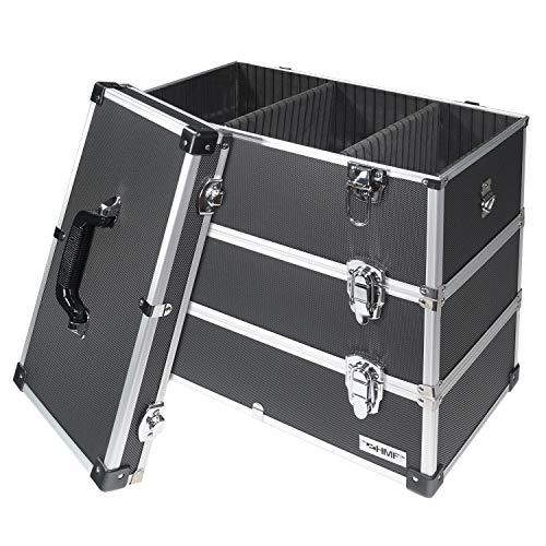 HMF 14661-02 Alu Werkzeugkoffer leer, 3 Etagen, 44 x 45 x 24 cm, schwarz