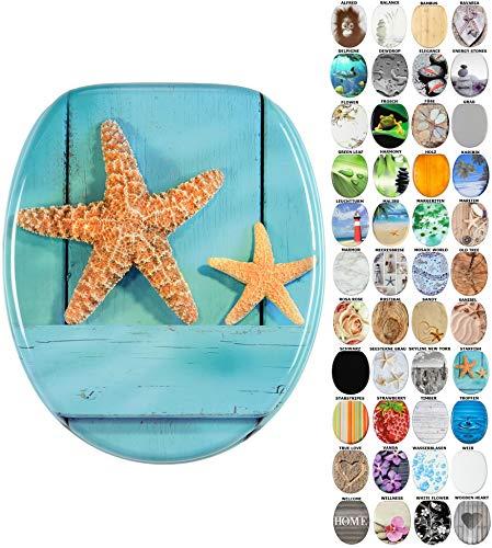 Sanilo WC-Sitz mit Absenkautomatik I Hochwertiger Toilettensitz aus Holz I Toilettendeckel in verschiedenen Motiven (Starfish)