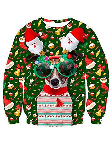 KIACIYA Pull Moche Noël Homme Unisexe Femme Imprimé Imitation Créatif Chien Père Noël Sweat-Shirt Pull Drôle Homme Manches Longues Décontracté Sportif Sweat Shirt Top (1,XXL)