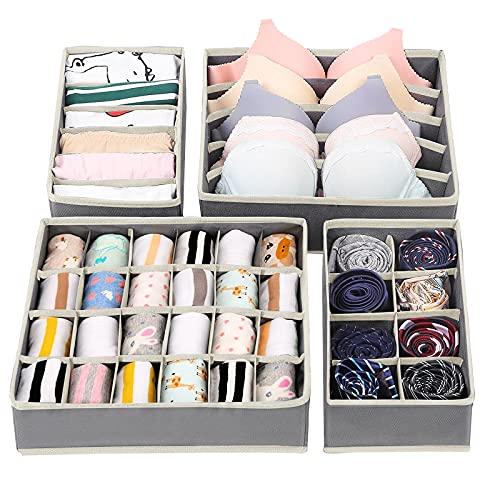 Likorlove Aufbewahrungsboxen für Unterwäsche, Sortierbox Kleiderschrank Organizer Ordnungssystem für faltbar, Unterwäsche, Büstenhalter Socken, Krawatten, Ordnungsbox Faltbox, Stoffbox, 4er Set (Grau)