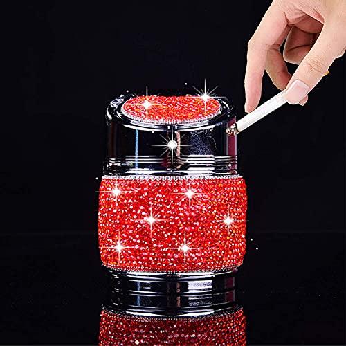 Auto Cenicero cenicero cenicero bandeja con colorido LED luz de cristal de cristal de cristal accesorios de interior para mujeres hombres, rojo