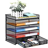 Veesun Paper Letter Tray Organizer, Mesh Desk File Organizer with a Sliding Drawer and 4 Tier Shelf Sorter,Black