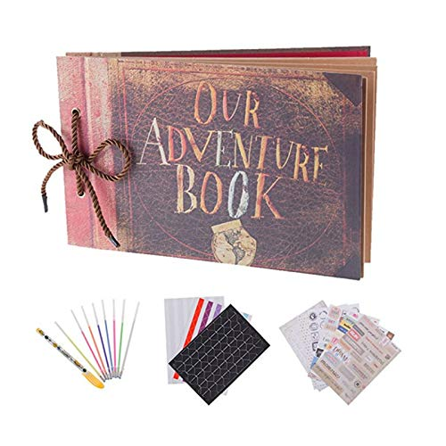 RECUTMS Our Adventure Book Scrapbook Pixar Up Handmade DIY Family Scrapbook Photo Album Expandable 11.6x7.5 Inches 80 Pages with Photo Album Storage Box DIY Accessories Kit