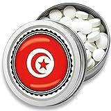 FAN Mint | 3er Set Pfefferminz Bonbons mit Tunesien Flagge | Geschenk, Souvenir Tunesien Fahne | Bonbon-Dose, Fan-Artikel, Party Deko (Tunesien)
