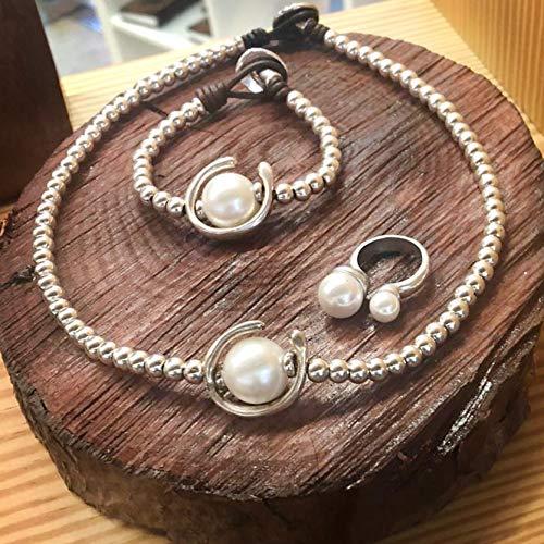 Conjunto collar, pulsera y anillo en zamak estilo unode50