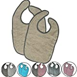 JEMIDI 2er Pack Frottee Baby und Kleinkind Babylätzchen Lätzchen Latz extra lang saugfähig Sabberlätzchen Sabberlatz Babylatz Babylätzchen (2er Pack Beige)