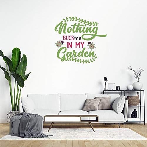 Wandaufkleber mit Aufschrift 'Nothing Bugs Me in My Garden', abnehmbarer PVC-Aufkleber für Wohnzimmer, Schlafzimmer, Zuhause