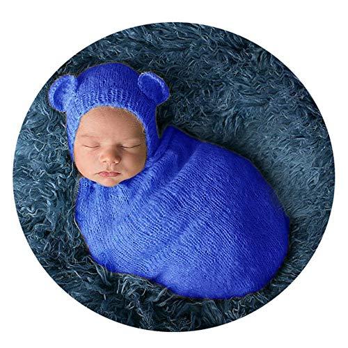 QinWenyan Fotografie kleding, fotografie, kleding voor pasgeborenen, jongens, hoed + slaapzak, voor babyfotografie