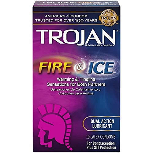 Trojan Pleasures Fire and Ice Dual Action Lubricated Condoms, 10ct