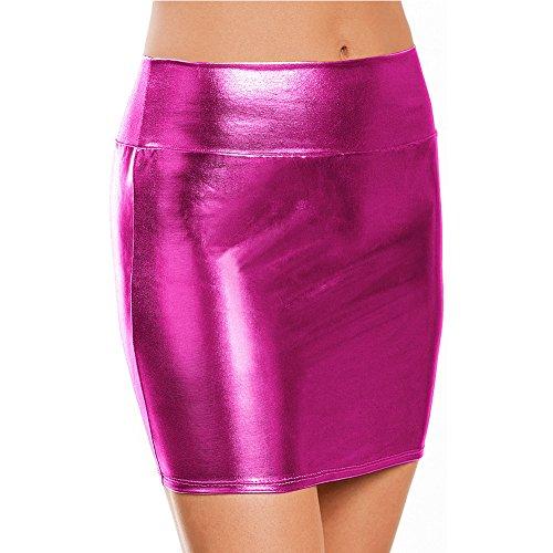 TiaoBug Damen Pencil Rock Bleistiftrock Wetlook Lack Minirock Mini Rock Röcke Glanz Skirt Clubwear Metalic (One Size, Rose)