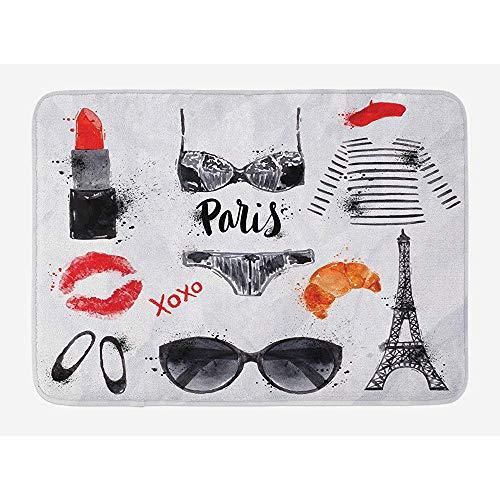 Anna-Shop Paris Badematte, Eiffelturm Gläser Lippenstift Schuhe Dessous Zubehör, Plüsch...