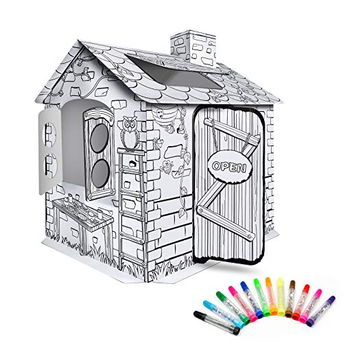 Trayousin Cardboard Playhouse, Kids Box Forts for Indoor & Outdoor Fun, Create a Cottage to Color and Doodle ( Best for Ages 3+)