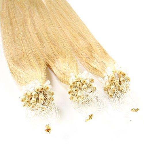 Just Beautiful Hair and Cosmetics Lot de 25 extensions Remy Loop avec micro anneaux pour pose à froid 60 cm