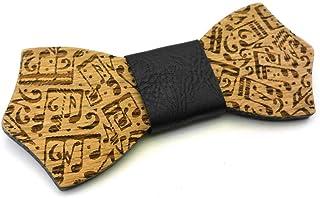 GIGETTO Papillon in legno Serie Pattern Nodo ecopelle Nero