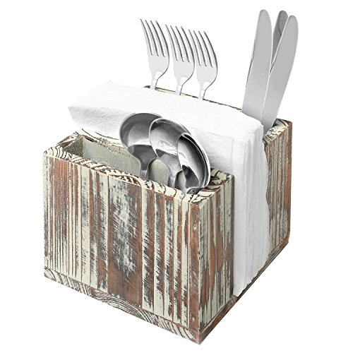 All-in-One Rustic Torched Wood Tabletop Flatware and Napkin Holder, Picnic Buffet Caddy